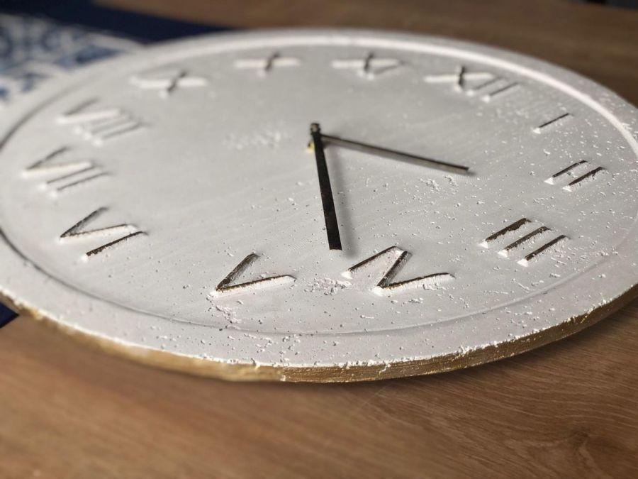 Zegar Ścienny Betonowy Roman Biały Złoty - Zegar Roman Metallic Biały Złoty #3