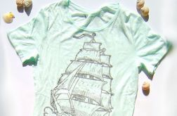 miętowa koszulka żagle, t-shirt XL bawełna