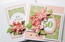 Kartka URODZINOWA - łososiowe kwiaty