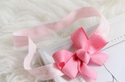 Opaska do włosów kokardka różowa