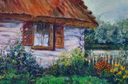 Bielona wiejska chata z ogródkiem rustyk