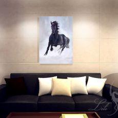 Obraz - Czarny koń - płótno - malowany