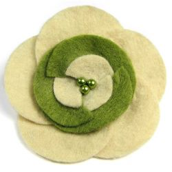 Broszka kwiatek beż + zieleń