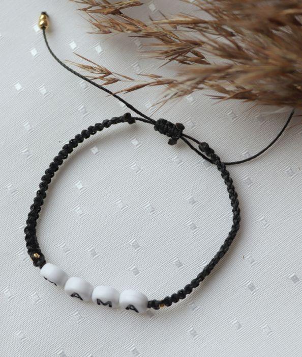 Czarna, pleciona bransoletka z napisem mama - Regulowana bransoletka na czarnym sznureczku