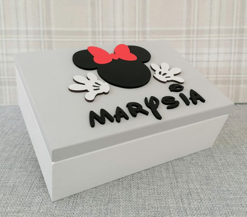 Kuferek na drobiazgi z lusterkiem- Minnie- MmC11 - drewniane pudełko Minnie