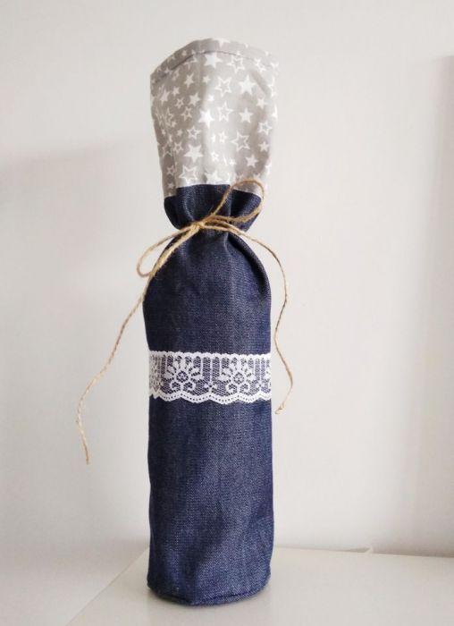 Torebka na butelkę torba na prezent jeans nr2