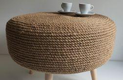 Stolik kawowy puf rustykalny boho handmade