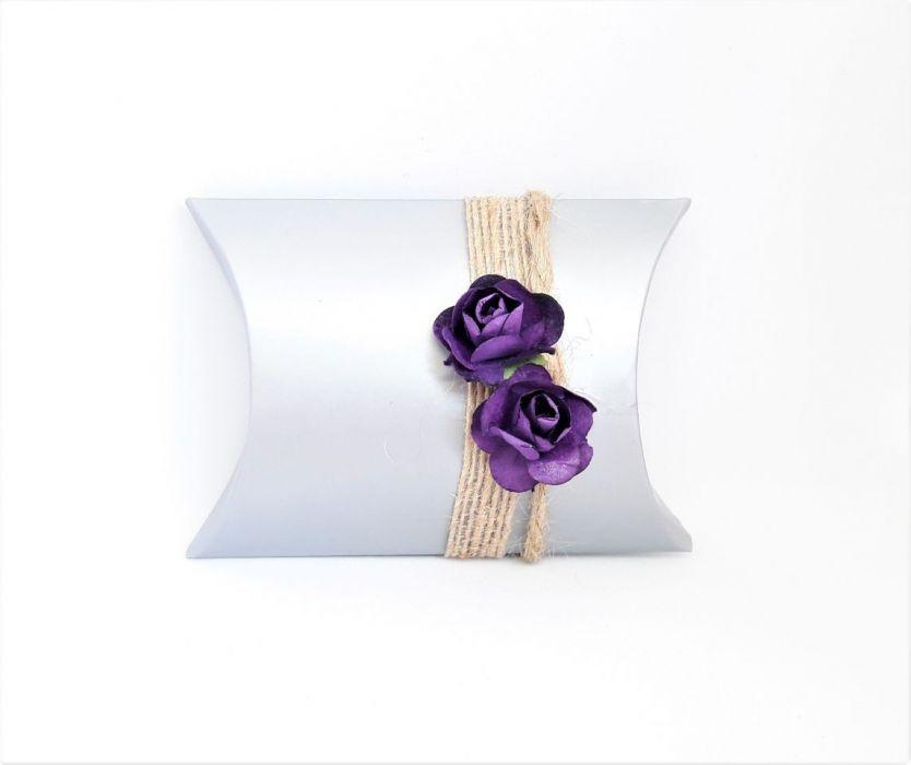 Pudełko ozdobne srebrno-fioletowe