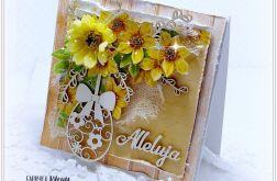 Kartka Wielkanocna żółta z żonkilem