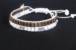 Biała sznurkowa bransoletka z hematytami