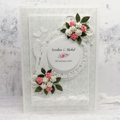 Kartka ślubna szara z różyczkami SLB 020