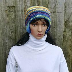 czapka szydełkowa zima