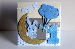 Kartka na Roczek z króliczkiem na księżycu