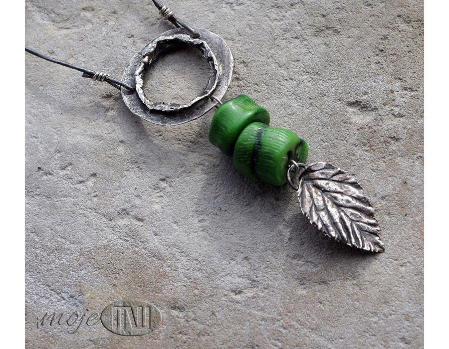 Obręcz z liściem - zielony koral