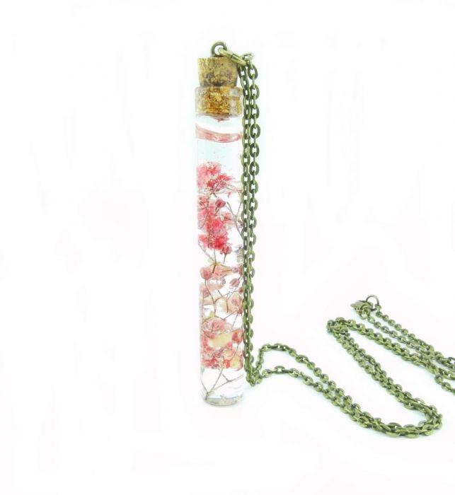 0913-mela/ wisiorek buteleczka z kwiatami