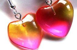 Tęczowe kryształowe serduszka urocze kolczyki