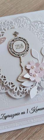 Zaproszenie komunijne perłowy kielich