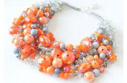 4083 naszyjnik kolia korale pomarańczowy