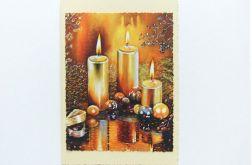 Kartka świąteczna kremowa ze świeczkami