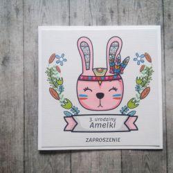 Zaproszenie na ROCZEK URODZINY z króliczkiem
