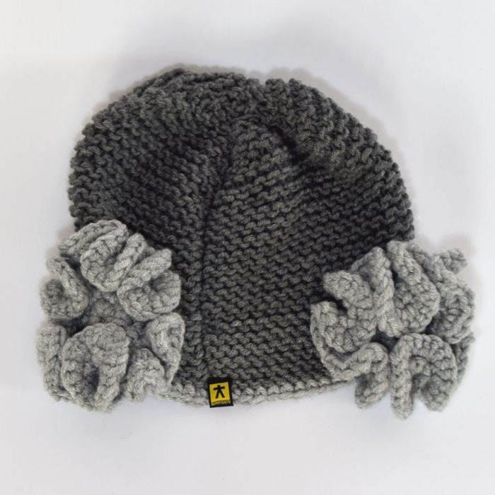 komplet czapka i szal 2 odcienie szarości - tył czapki