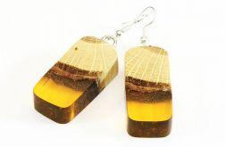 Kolczyki z żywicy i drewna bukowego miodowe