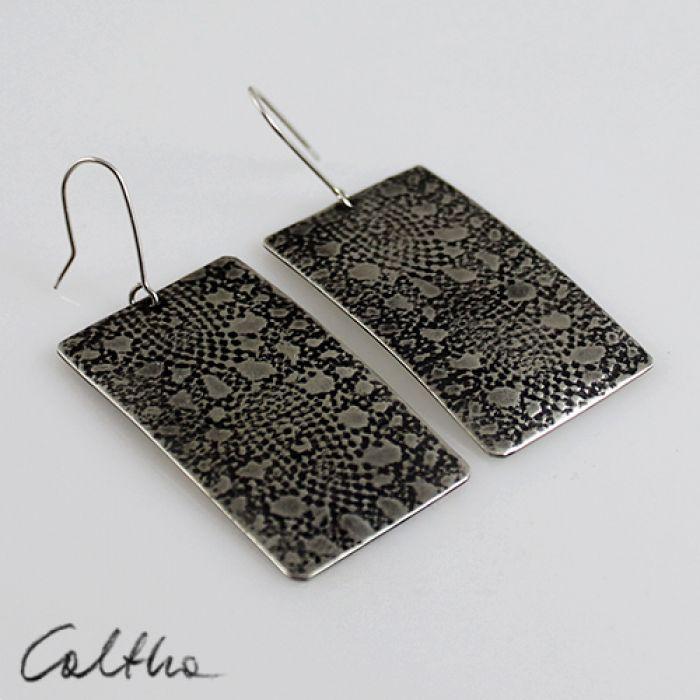 Koronki - metalowe kolczyki 140722-03 - Duże metalowe kolczyki