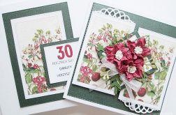 Kartka ROCZNICA ŚLUBU - czerwone kwiaty