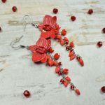 Długie kolczyki kwiaty -czerwone - długie, czerwone kolczyki