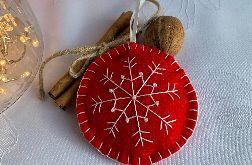 Dekoracja świąteczna z filcu z ozdobnym haftem - wzór 007