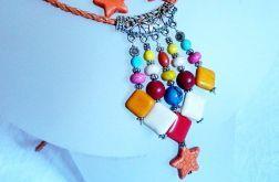 Kolorowy wisior z kamieniami i kolczyki