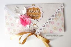 Kopertówka, kartka na ślub różowa 040916