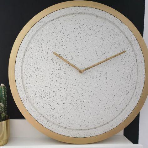 Zegar Betonowy Biały Złoty 44cm do Salonu