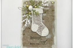 Zaśnieżona kartka świąteczna ze skarpetą