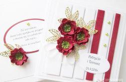 Kartka ŚLUBNA z bordowymi kwiatami #1
