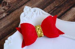 FairyBows spinka kokardka czerwona + złoto
