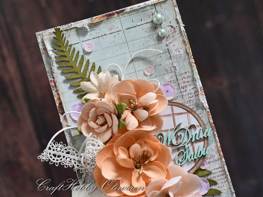 Ślubny bukiet łososiowy - Ślubny bukiet- detal I