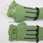 Mitenki ręcznie robione wełna zielone - rękawiczki zielone