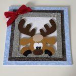 Kartka Boże Narodzenie handmade łoś ramka