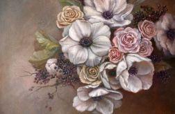 Anemony i Róże, ręcznie malowany, olej