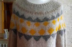 sweter z żakardem alpaka z jedwabiem 40/42
