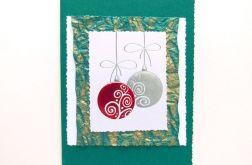 Kartka świąteczna zielona z bombkami