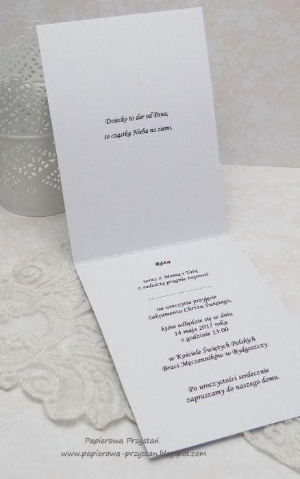 Delikatne Zaproszenia Na Chrzest 1 Papierowa Przystań