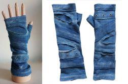 Rękawiczki niebieskie, oczka metalowe
