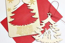 Karta drewniana z życzeniami Święta Boże Naro