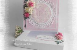 Kartka komunijna w pudełku różowa