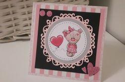 Kartka na Narodziny Roczek urodziny misiu róż