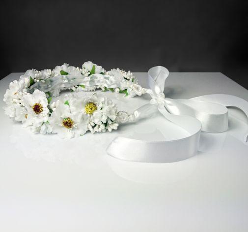 Wianek ślubny komunijny biały kwiaty wiśni