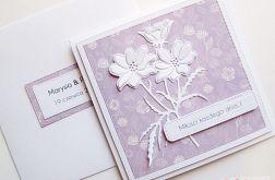 Kartka ŚLUBNA fioletowo-biała