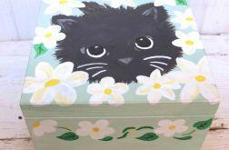 Skrzynka  Drewniana Kuferek Pudełko Ręcznie Malowany Kot